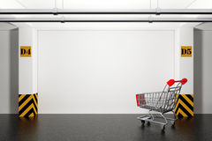 Abandoned Shopping Cart in Underground Parking Garage. 3d Render. Abandoned Shopping Cart in Underground Parking Garage extreme closeup. 3d Rendering Vector Illustration