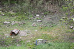 Abandoned Shopping carts in creek bed Royalty Free Stock Photos