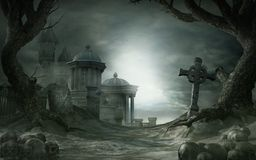 Abandoned shrine. Gothic scenery with old cemetery and shrine royalty free illustration