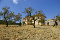 Abandoned Sicilian farm house. Traditional Sicilian farm house and almond trees stock image