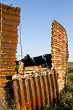Abandoned Silo. A disintegrating silo marks a forgotten era Stock Photo