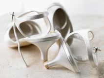 Abandoned Silver High Heels Royalty Free Stock Photo