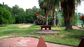 Platform for training Golf. Abandoned site for teaching Golf stock footage
