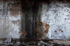 Abandoned skadade den byggande väggen royaltyfria foton