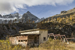Abandoned ski lift station in the Presanella Stock Images
