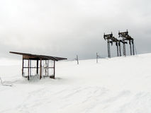 Abandoned ski tow station. Vitosha Mountain, Bulgaria Royalty Free Stock Photos