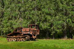 Abandoned skidder against the backdrop of an ancient  forest Stock Image