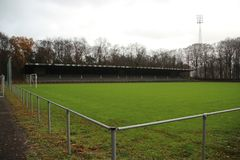 Abandoned soccer stadium in Wageningen named Wageningse Berg. Where FC Wageningen went bankrupt in 1992 royalty free stock photography