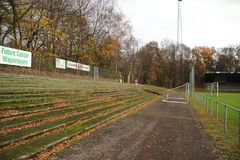 Abandoned soccer stadium in Wageningen named Wageningse Berg. Where FC Wageningen went bankrupt in 1992 stock images