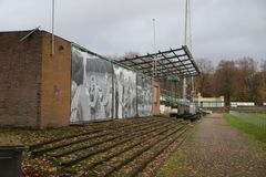 Abandoned soccer stadium in Wageningen named Wageningse Berg stock photography