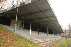 Abandoned soccer stadium in Wageningen named Wageningse Berg royalty free stock photo