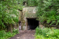 Abandoned Soviet bunker. The view of the entrance to an abandoned Soviet military bunker Stock Images
