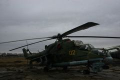 Abandoned soviet helicopter. On abandoned soviet airbase Stock Photo