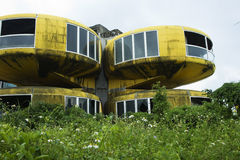 Abandoned space village. This is San Zhi, a futuristic housing project that went wrong.  The houses were built as pods and are quite unlike most houses Stock Photo