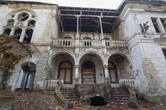 Abandoned castle in Serbia. The abandoned Spitzer castle in Beocin, Serbia. The castle from the film Black Cat, White Cat by Emir Kusturica royalty free stock photography