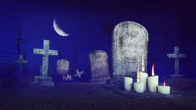 Abandoned spooky cemetery at moon night. Abandoned spooky cemetery under fantastic big half moon with lighted candles in front of old gravestone at misty night Royalty Free Stock Photos