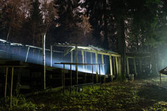 Abandoned sports track at night Stock Photos