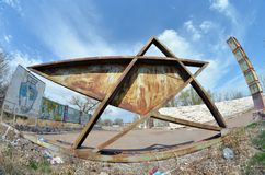 Abandoned stadium.Sary Shagan. Stock Images