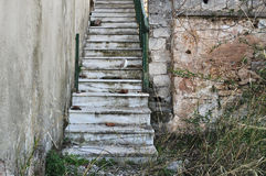 Abandoned staircase and overgrown plants Stock Photography