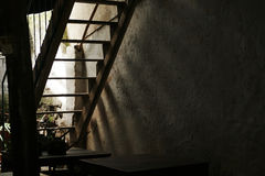 Abandoned stairs. With shadow in sunshine stock images