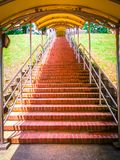 Abandoned Stairway in temples and hills. Long steps and hill area. Long abandon staircases stock photo