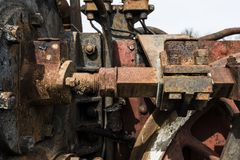 Abandoned steam locomotive in the countryside. Abandoned steam locomotive parts in the countryside Stock Photos