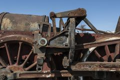 Abandoned steam locomotive in the countryside. Abandoned steam locomotive parts in the countryside Royalty Free Stock Photography