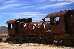 Abandoned steam train at Altiplano, Bolivia Stock Photos