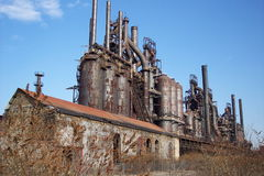 Abandoned Old Closed Steel Mill. An abandoned and rusting steel mill Stock Photos