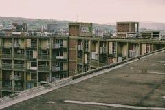 Abandoned steg ombord upp lägenheter, parkerar kullen, Sheffield, södra Yorkshir Arkivfoton