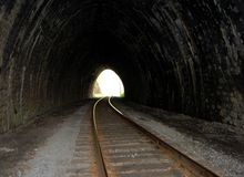 Abandoned stone tunnel. Over old railroad Royalty Free Stock Photos