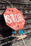 Abandoned stop sign. This abandoned stop sign will probably stop no one anymore Stock Photos