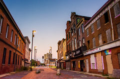 Abandoned storefronts in Old Town Mall, Baltimore, Maryland. Stock Photo