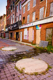 Abandoned storefronts in Old Town Mall, Baltimore, Maryland. stock image
