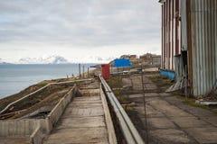 Abandoned street in Barentsburg, Svalbard Stock Photography
