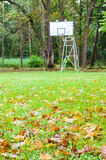 Abandoned street basketball hoop with autumnal foreground Stock Photos