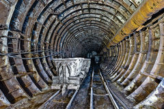 Abandoned subway tunnel in Kiev, Ukraine Royalty Free Stock Photography
