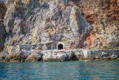 Abandoned sulphur mines & x28;& x27;Thiorichia& x27;& x29; in Milos Island, Greece. Abandoned old sulphur quarry & x28;& x27;Thiorichia& x27;& x29; in Milos royalty free stock photo