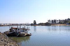 Abandoned Sunken Fishing Boat in Shallows of Durban Harbor Royalty Free Stock Photo