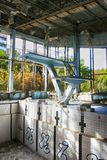 Abandoned swimming pool in Pripyat, the ghost town in the Chernobyl Exclusion Zone Royalty Free Stock Image