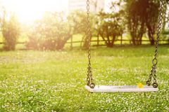 Abandoned swing in warm sunny light with flowers in the spring season Stock Photos