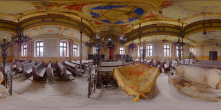 Abandoned Synagogue Interior in Gherla, Romania. 360 panorama of the interior of the abandoned synagogue in Gherla, Romania Royalty Free Stock Photography