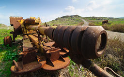 Abandoned Syrian Gun on Golan Heights Royalty Free Stock Photo