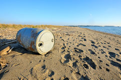 Abandoned tank on the beach Royalty Free Stock Images