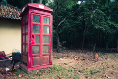 Abandoned telephone booth in the ancient city of Polonnaruwa, Sr stock image