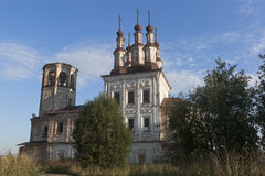 Abandoned temple of the Resurrection in village Varnitsy, Totemsky district, Vologda region Royalty Free Stock Photos