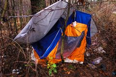 Abandoned tent Stock Photography