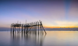 Abandoned timber jetty or Langgai Royalty Free Stock Photography