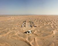 Abandoned town in Dubai. Photography made with a drone This is a abandoned town in the desert of Dubai Stock Photos