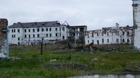 Abandoned town in tundra in nothern Russia. In summer in polar night royalty free stock photo